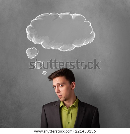 Thoughtful young businessman gesturing with cloud above his head