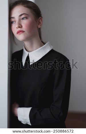 thoughtful young girl at the institute - stock photo