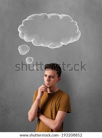Thoughtful young man gesturing with cloud above his head - stock photo