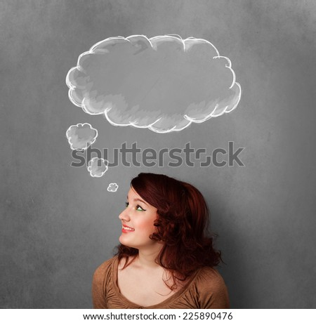 Thoughtful young woman gesturing with cloud above her head - stock photo