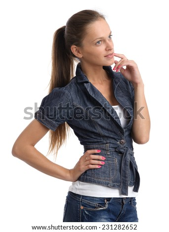thoughtful young woman isolated over white background