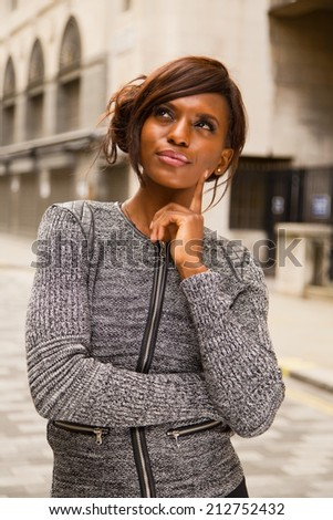 thoughtfull african american woman - stock photo