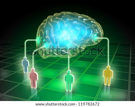 Thoughts from different people create a collective mind. Digital illustration. - stock photo