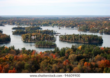 Thousand Islands aerial view in fall, from Sky deck on Hill Island, on the border of Canada and USA - stock photo
