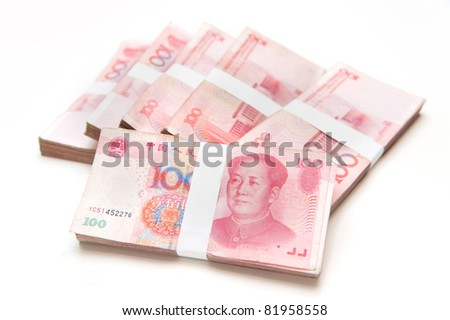 Thousands china's currency one hundred RMB yuan isolated on white - stock photo