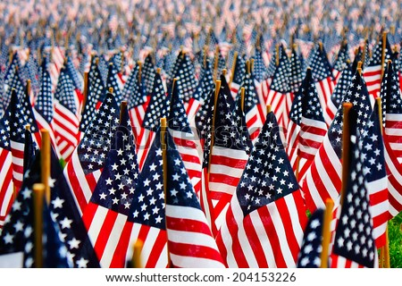 Thousands of American Flags planted in Boston during Memorial Day. - stock photo