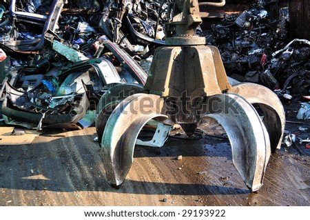 Thousands of old cars will be destroyed at the scrapyard in Germany - stock photo