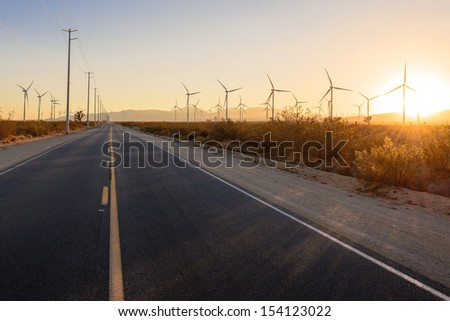 Thousands of wind turbines in Mojave, California. - stock photo