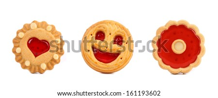 Thre different cookies with jam in row. Isolated on a white background. - stock photo
