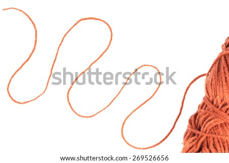 thread of wool isolated on white - stock photo