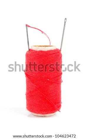 Thread with needle - stock photo