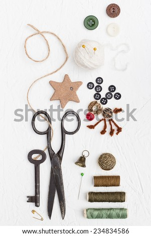 Threads, Buttons and Pins Christmas Set - stock photo