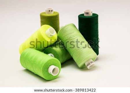 Threads in different green colors
