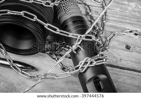 Threats against freedom of press, a concept - stock photo