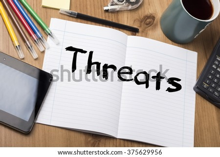 Threats - Note Pad With Text On Wooden Table - with office  tools - stock photo