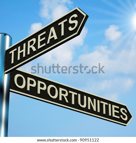 Threats Or Opportunities Directions On A Metal Signpost - stock photo