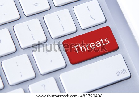 Threats word in red keyboard buttons