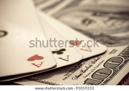 Three aces on the USA hundred dollars banknotes