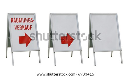 Three ad-boards isolated on white with and without text - stock photo