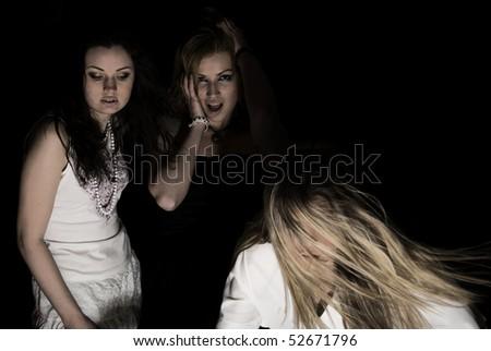 Three addict girls in nirvana - stock photo