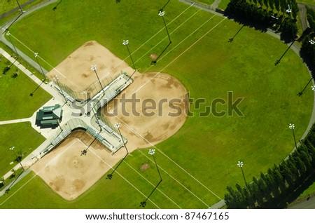 Three adjacent baseball fields in Kent, Washington - stock photo