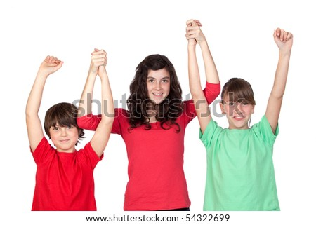 Three adorable brothers celebrating their success isolated on white background - stock photo