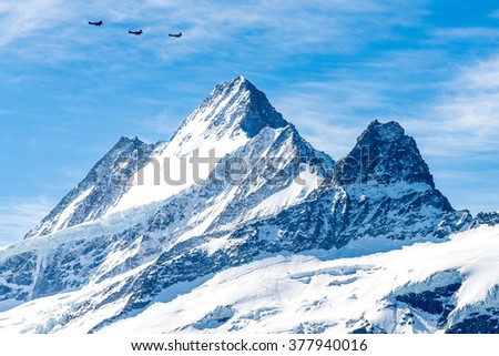 Three Aeroplanes Flying over The Eiger, Grindelwald, Switzerland