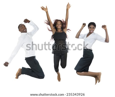 Three african people jumping high, Studio Shot - stock photo