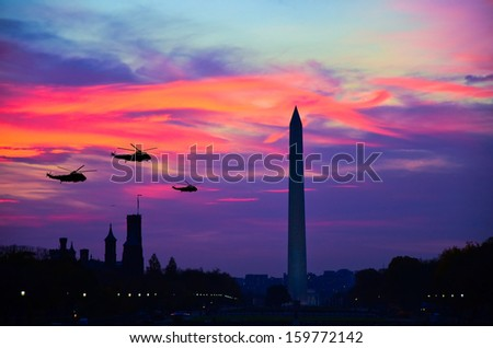 Three air crafts in Washington DC at night - stock photo