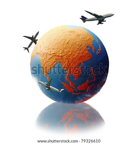 Three airplane circling a colorful globe showing the continent of Asia, isolated against white. - stock photo