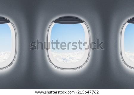 Three airplane or jet windows - stock photo
