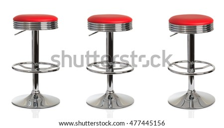 Three American diner stools in various poses on a white background
