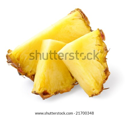 three ananas slices, isolated on white background, with light shadow - stock photo