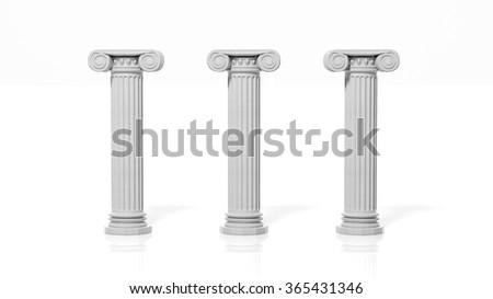 Three ancient pillars, isolated on white background. - stock photo