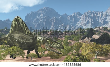 Three Arizonasaurus dinosaurs wander through a mountainous landscape - 3D render.