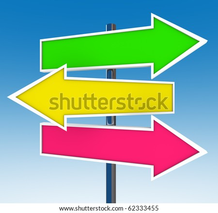 Three arrow signs against a clear blue sky representing multiple opportunities - stock photo