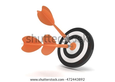 Three arrows darts in center. 3d rendering.