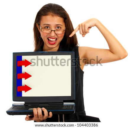 Three Arrows For Online Presentation Computer List - stock photo