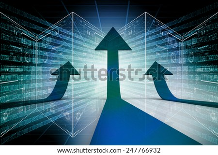 Three arrows going up - success concept illustration - stock photo