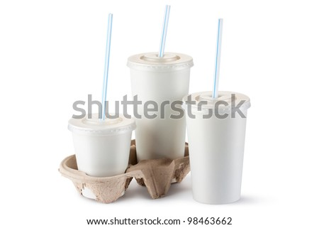 Three assorted disposable cups for beverages. Isolated on a white. - stock photo