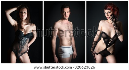 Three attractive male and female underwear models in front of dark studio background - stock photo