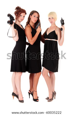 Three attractive young women in black dresses. Two of them holding firearms and one holding a binocular. Studio shot. White background.