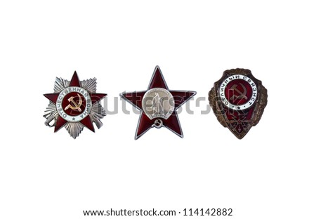 Three awards of the USSR are isolated on a white background - stock photo