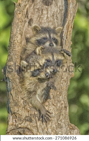 Three baby raccoons in hollow tree nest, digital oil painting