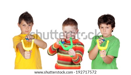 Three bad boys with slingshot isolated on a white background - stock photo