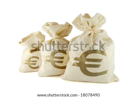 Three bags of money on the white background - stock photo