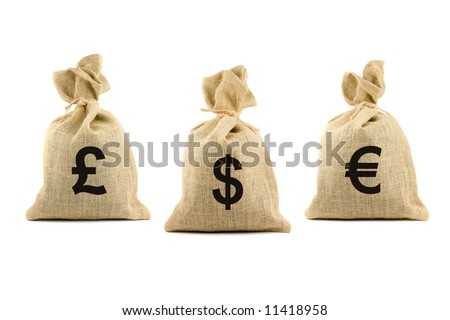 Three bags with dollar, pound and euro symbols. Isolated on white - stock photo