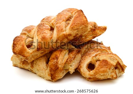 three baked apple pies on white background