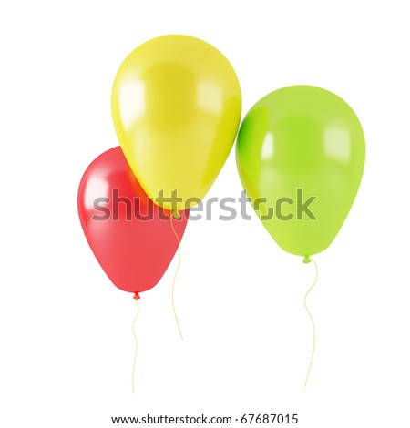 Three balloons 3d render isolated on white background (hi-res)
