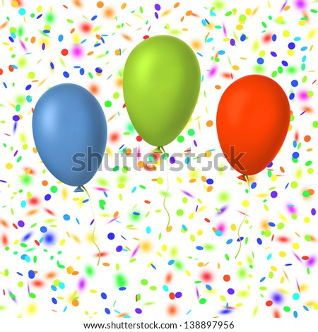 three balloons on a confetti holiday background - stock photo